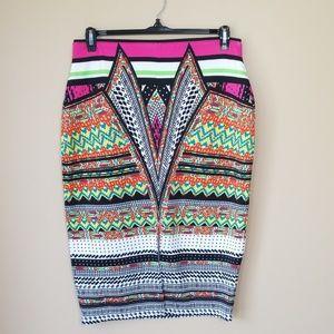 Bisou Bisou Colorful Scuba Pencil Skirt